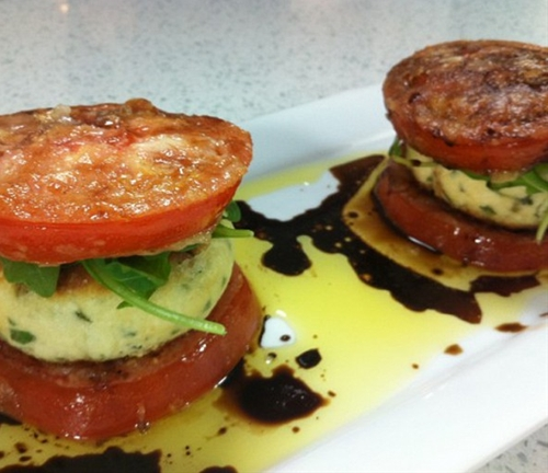 Crispy tomato and mizithra stacks