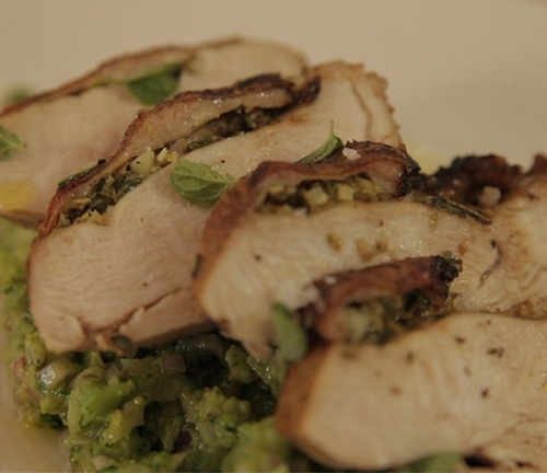 Herb butter rooster breast and broccoli mash