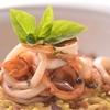Greek carbonara orzo with dried salami and calamari