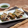 Grilled aubergine rolls stuffed with sun-dried tomatoes & feta cheese
