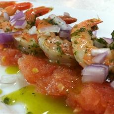 Aromatic parsley pesto marinated shrimp