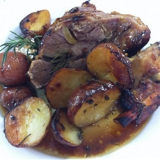 Honey roasted lamb with herbs and potatoes