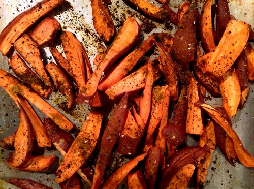 Peruvian Aji Amarillo Roasted Sweet Potato Wedges