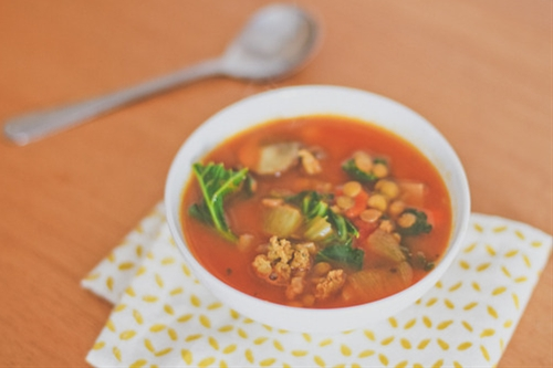 Vegetable Soup with Green Lentils and Italian...