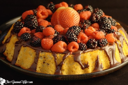 Yogurt Cake with Ganache and Fresh Berries