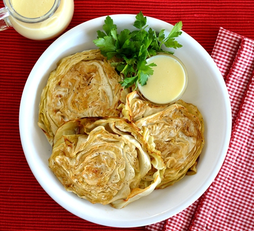 Roasted Cabbage Steaks with Mustard Sauce