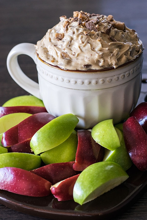 Apple Brickle Dip with Chocolate Bits