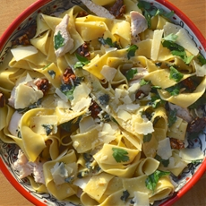 Pappardelle with Chicken, Walnuts, & Sage
