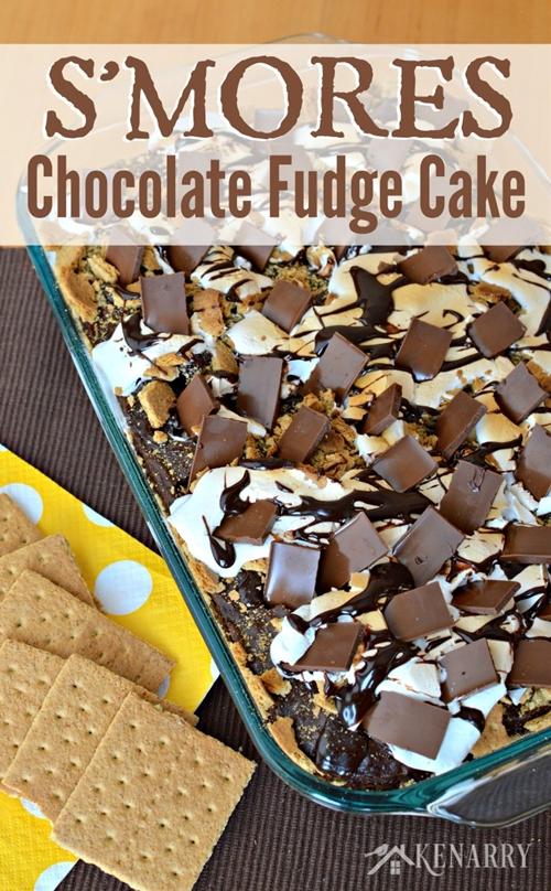 Smores Chocolate Fudge Cake
