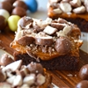 Malted Milk Chocolate Brownies with Salted Dulce de Leche Topping and
