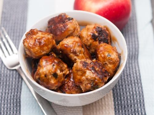 Apple Glazed Chicken, Apple & Spinach Meatballs