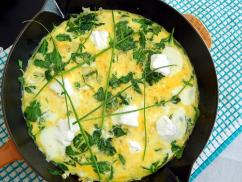 Spinach, Herb, and Goat Cheese Frittata