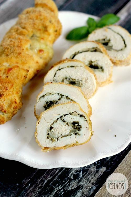 Pesto Cheese Stuffed Chicken Rolls