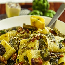 PACCHERI (TRADITIONAL MACARONI) pork belly, artichokes
