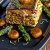 Fillet char with spatzle, mushroom and asparagus