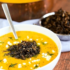 BUTTERNUT SQUASH CREAM SOUP with goat cheese