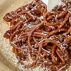DRUNKEN BUCATINI (thicker spaghetti) with red wine sauce