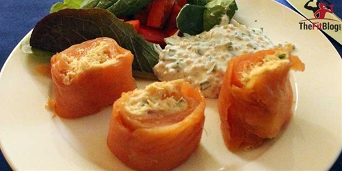 Salmon Rolls with Mustard Seed Dressing