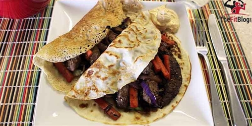 Crepes with Marinated Beef & Veggies
