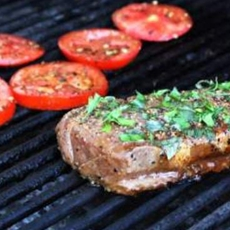 Grilled Steaks And Tomatoes With Basil Garlic Bread