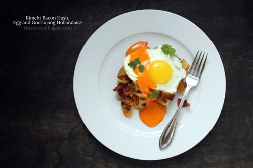 KIMCHI BACON HASH, EGG AND GOCHUJANG HOLLANDAISE