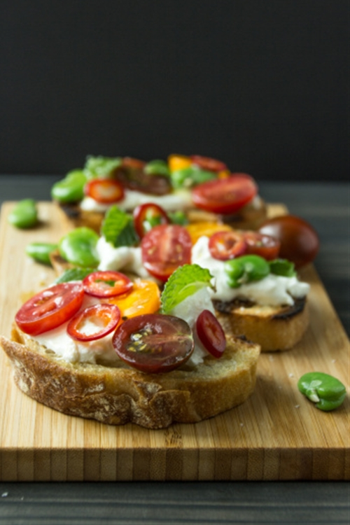 Burrata with Fava Beans, Tomatoes, Chiles and Mint