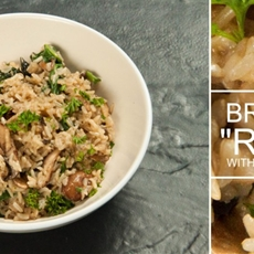 Brown Rice Risotto with Chestnut Mushrooms • The Greedy Vegan