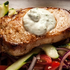Pan-Fried Pork Chop w/ Dill Yogurt