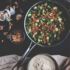 Brussel Sprouts and Bacon Gratin with Creamy Cauliflower Sauce