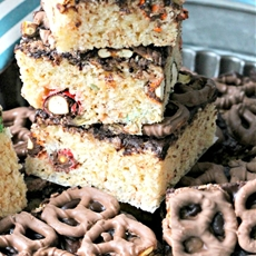Homemade Rice Krispies Treats with Pretzel M&Ms and Chocolate Covered