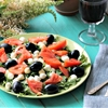 Mozzarella and Arugula Salad with Tomatoes & Black Olives