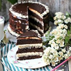 Homemade Chocolate Brownie Cake with Vanilla Mascarpone Buttercream