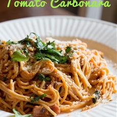 A Blog by Two Bffs: Spaghetti with Tomato Carbonara