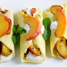 Roasted Peach & Honey Ricotta Crepes