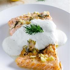 Lemon Dill Salmon with Feta Yogurt Sauce