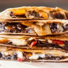 Fajita Quesadillas with Chipotle Refried Black Beans