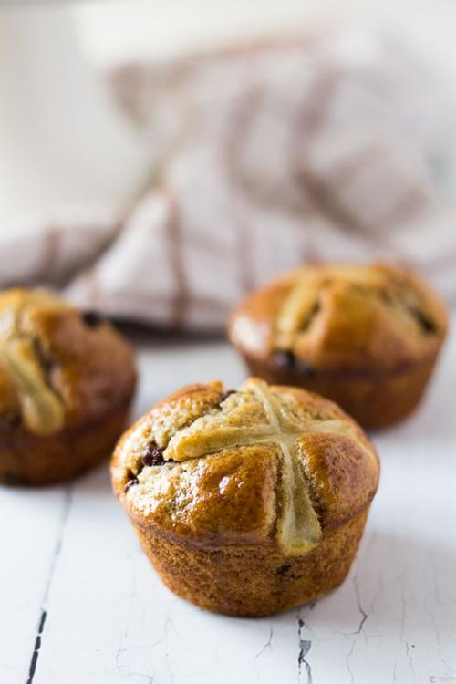 Chocolate and Orange Hot Cross Muffins