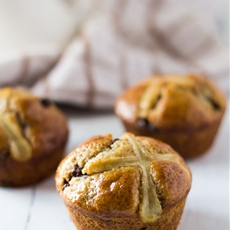 Chocolate and Orange Hot Cross Muffins