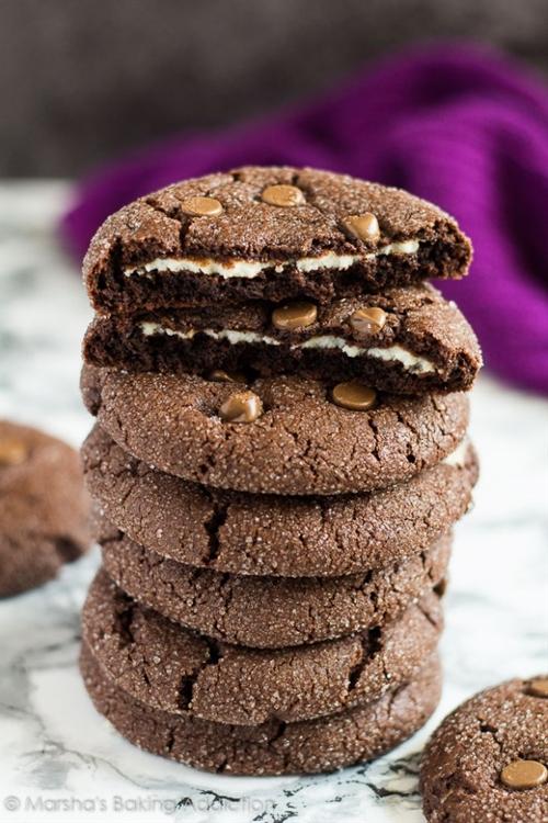 Cheesecake Stuffed Double Chocolate Cookies