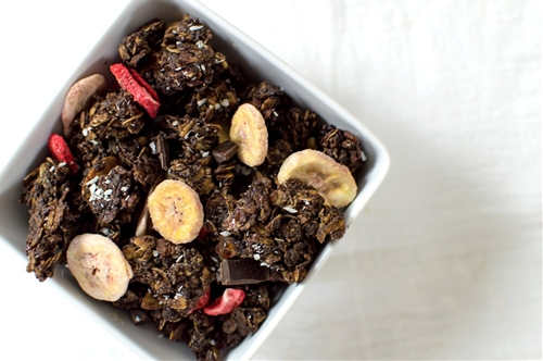 Dark Chocolate, Strawberry-Banana Granola
