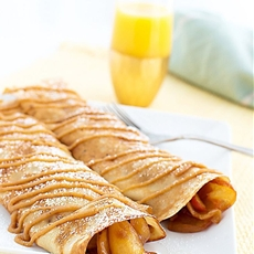 Sweet Apple Crepes with a Peanut Butter Drizzle