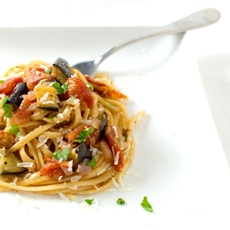 Roasted Eggplant & Sun-Dried Tomato Pasta