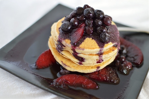 Pancakes with a Blueberry Peach Sauce