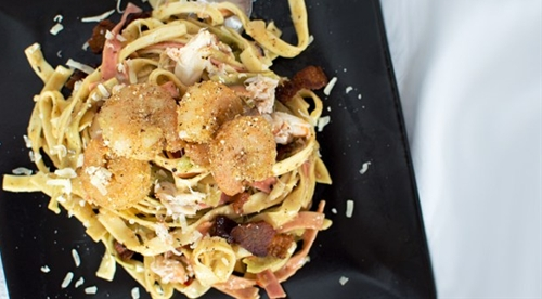 Bacon, Shrimp, and Crab Pasta