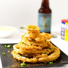 Old Bay Onion Rings with Lemon Dipping Sauce