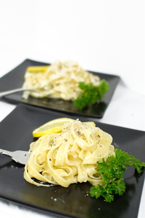 Homemade Herb Pasta with a Creamy Lemon Prosecco Sauce