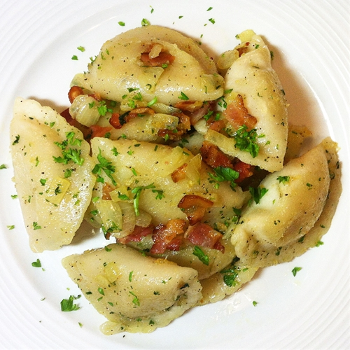 Roasted Perogies with Butter and Bacon