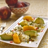 peach, smoked avocado and mozzarella salad