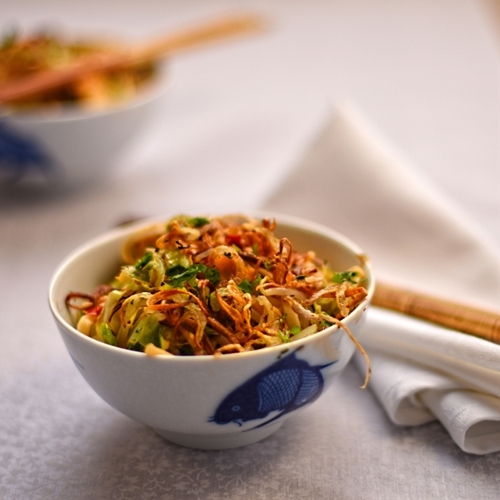 Indonesian style spicy noodles with summer cabbage