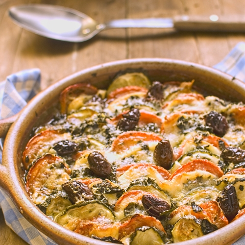 Courgette, tomato and olive tian